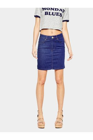 YOINS Deep Mid Waist Denim Pencil Skirt