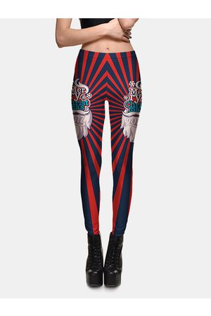 YOINS Active Geometrical Pattern High Waisted Christmas Leggings in Blue