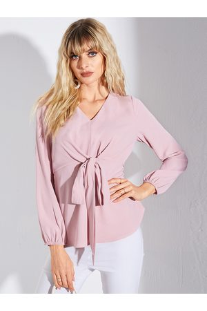 YOINS Pink Pleated Design V-neck Long Sleeves Blouse