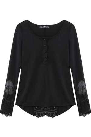 YOINS Lace Insert Bell Sleeve Blouse