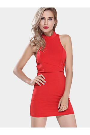 YOINS Red Crossed Back Strap Bodycon Party Dress