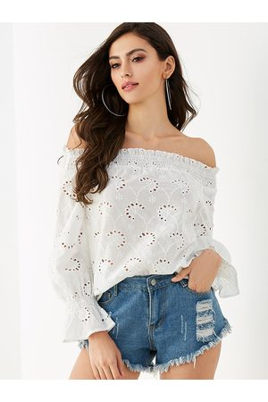 YOINS Hollow Off The Shoulder Smocked Blouse