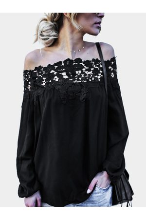 YOINS Lace Details Off The Shoulder Long Sleeves Blouses