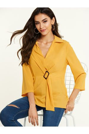 YOINS Revere Collar Knotted 3/4 Length Sleeves Blouse