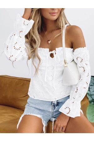 YOINS White Off The Shoulder Bell Sleeves Blouse