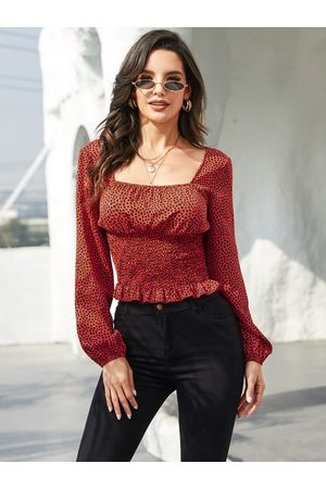 YOINS Red Leopard Square Neck Shirred Long Sleeves Blouse