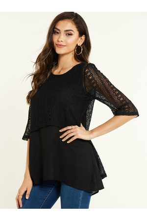 YOINS Lace Round Neck Half Sleeves Blouse
