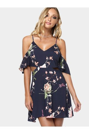 YOINS Sexy Random Floral Print Cami Dress with Cut Out Details