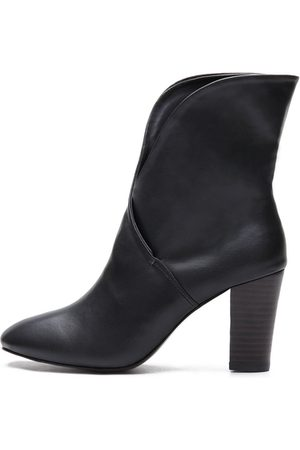 YOINS Leather-look Cross Chunky Heels Short Boots