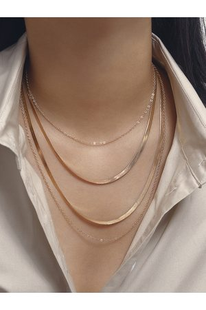 YOINS Thick And Thin Cross Sequins Chain Multi-layer Necklace