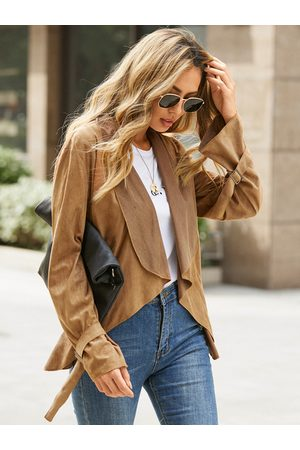 YOINS Mujer Chamarras - Suede Square Cufflinks Lapel Collar Long Sleeves Jacket