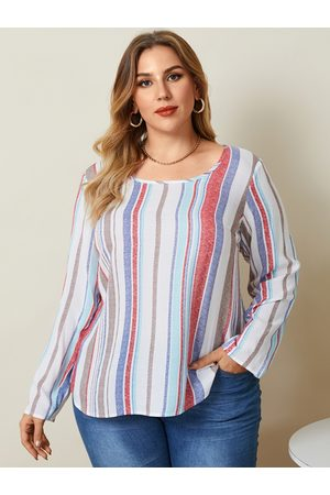 YOINS Mujer Blusas - Plus Size Round Neck Striped Long Sleeves Blouse