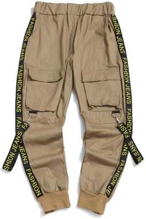 Zaful Letter Print Strap Streetwear Cargo Pants