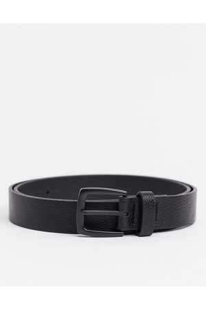 ASOS Wide belt in black faux leather with matte black buckle detail