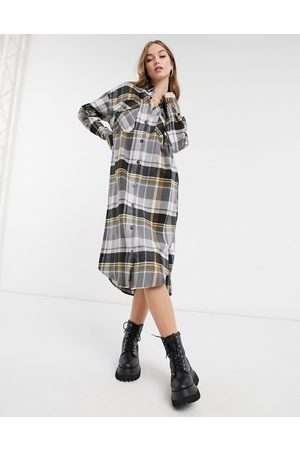 ASOS Button through midi shirt dress in brushed check