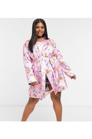 Outrageous Fortune Nightwear satin kimono in pink floral