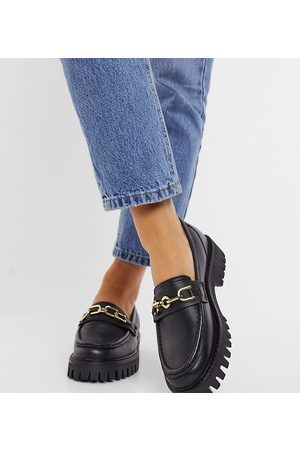 ASRA Mujer Mocasines - Exclusive Freya chunky loafers in black leather with gold trim