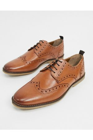 ASOS Brogue shoes in tan leather with faux crepe sole