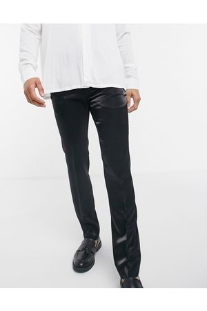 Twisted Tailor Hombre Slim y skinny - Suit trousers in high shine black