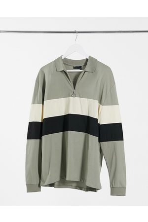 ASOS Relaxed long sleeve polo shirt with contrast panels in khaki