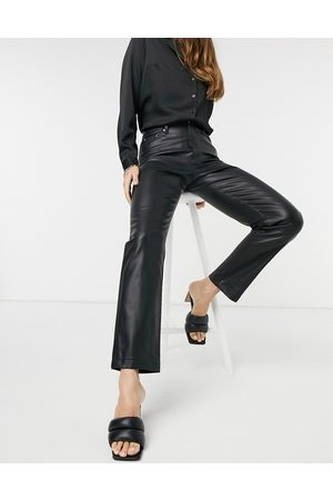 River Island Faux leather straight leg trouser in black
