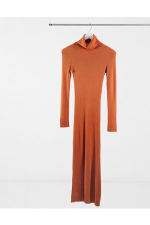 Y.A.S Mujer Maxi - . long sleeve roll neck jumper dress in rust