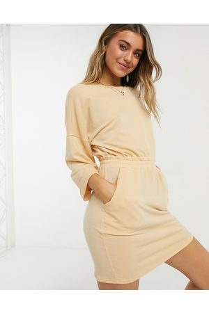 ASOS Mini sweat dress with waist band and rolled sleeve in buttermilk