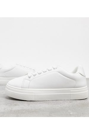 London Rebel Wide fit flatform lace up trainers in white