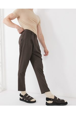 ASOS Tapered smart trouser in charcoal pinstripe