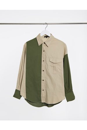 Love & Other Things Contrast panelled shirt in green