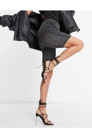 Fashionkilla Glitter ruched side bodycon short in gunmetal