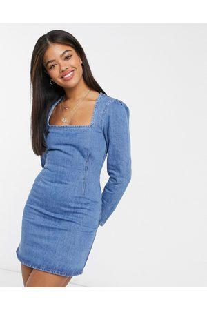 ASOS Split sleeve mini dress in lightwash blue