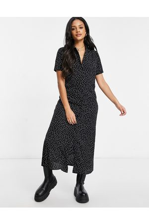 Missguided Midi shirt dress with button through detail in polka dot