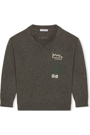Dolce & Gabbana Knit crew-neck pullover with jacquard logo