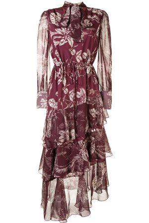 Marchesa Notte Vestido con estampado de hojas