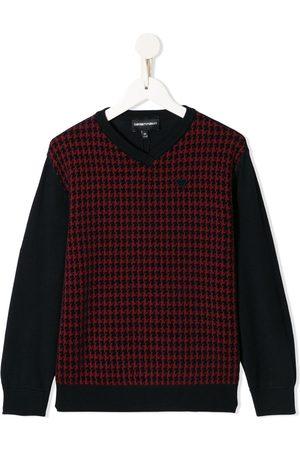 Emporio Armani Houndstooth-print v-neck jumper