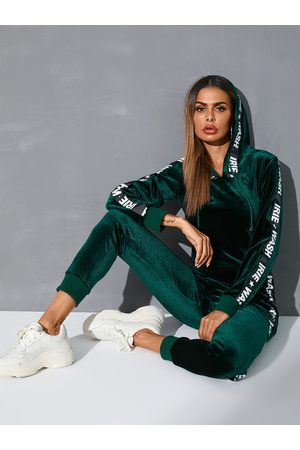 YOINS Green Letter Hooded Design Long sleeves Tracksuit