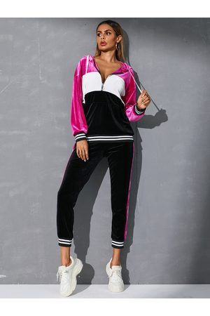 YOINS Purple Color Block Hooded Design Long Sleeves Tracksuit