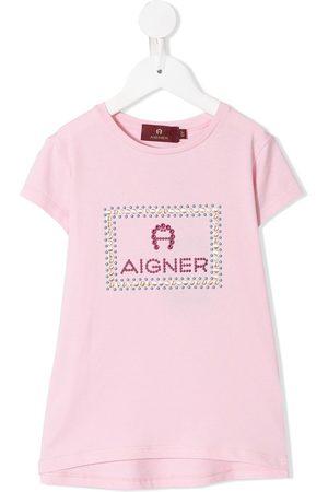 Aigner Camiseta con logo y detalles de strass
