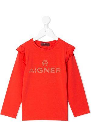 Aigner Rhinestone logo ruffled shoulders sweatshirt