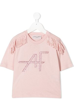 Alberta Ferretti Camiseta con ribete de flecos