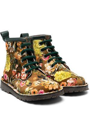 PèPè Floral print velvet boots