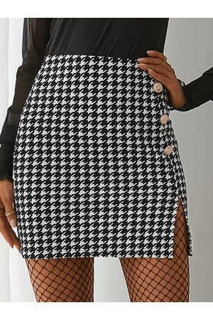 YOINS Black Houndstooth Button Front Mini Skirt