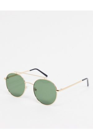 AJ Morgan Round sunglasses in gold with flat brow bar detail