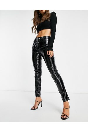 I saw it first Vinyl skinny trousers in black
