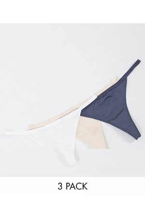 Dorina Fili recycled 3 pack string thong in grey beige and white