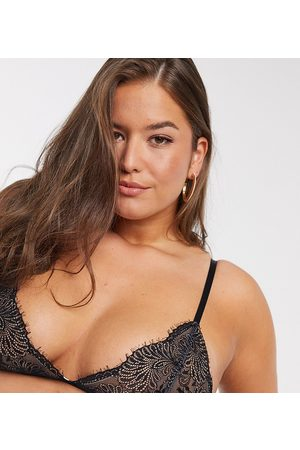 We Are We Wear Curve delicate eyelash lace bralette with back strap detail in black and pink