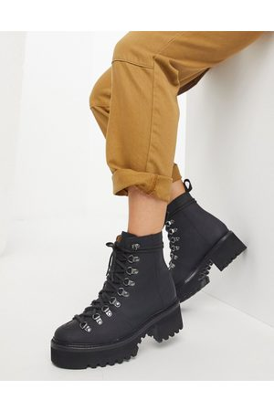 GRENSON Nanette rubberised leather chunky hiker boots in black