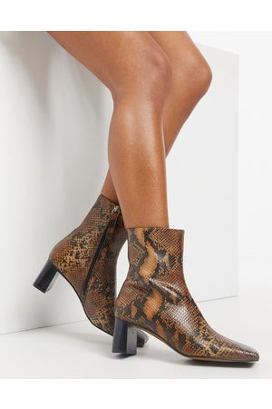 ASOS Rain premium square toe leather boots in snake