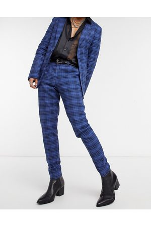 ASOS Super skinny soft tailored suit trousers in dark blue windowpane check